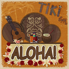 Vintage orange card - signboard tiki bar - with the image ukulel
