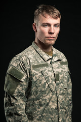 Military young man. Studio portrait.