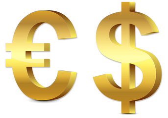 3D gold glossy Euro & U.S. Dollar icon, symbol isolated on white
