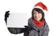 Christmas Woman Holding Sign