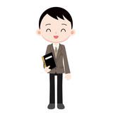 出席簿を持つ男性教諭
