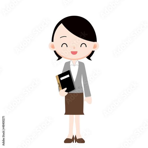 出席簿を持つ女性教諭