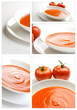 Collage of tomato soup