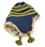 Striped wool beanie hat
