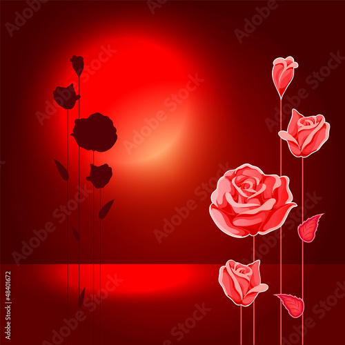abstract roses on background with moonlight
