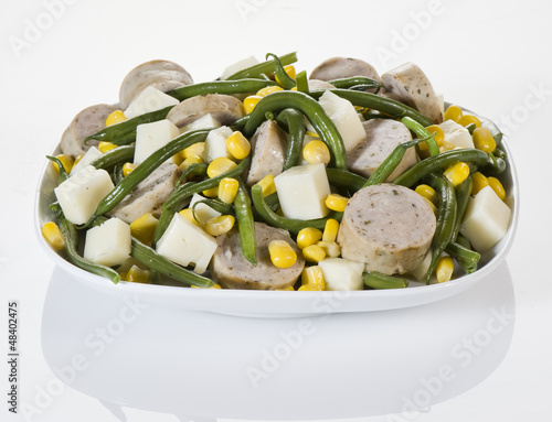 Salad with wurstel corn and green beans