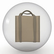 shoppingbag in transparent sphere  on white