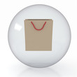 paper shoppingbag in transparent sphere  on white