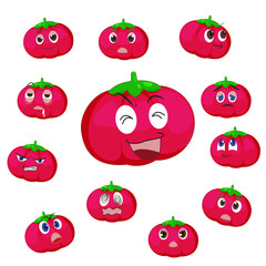 tomato cartoon with many expressions