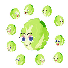 Chinese cabbage cartoon with many expressions
