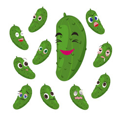 cucumber cartoon with many expressions