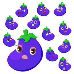 eggplant cartoon with many expressions