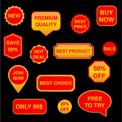 Red and gold set of stickers, labels, badges Vector