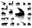 Anti-air warfare detailed silhouettes set