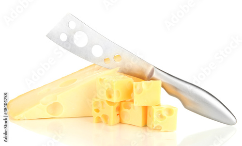 Cut cheese with knife isolated on white