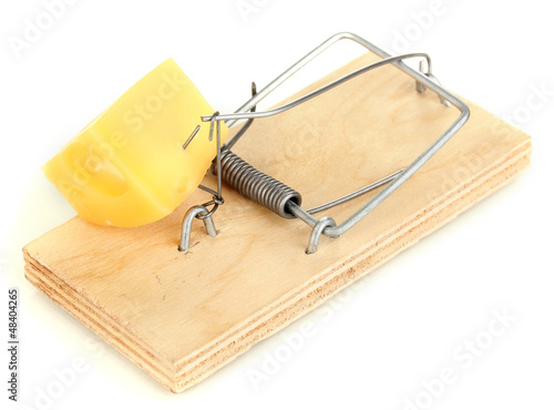 Mousetrap with cheese isolated on white