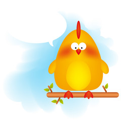 Vector illustration of a cartoon chicken with a text bubble.