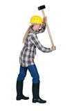 Angry tradeswoman about to smash an invisible object