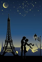 Silhouette of a couple in Paris.
