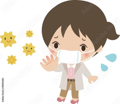 花粉の飛散を心配する若い女性