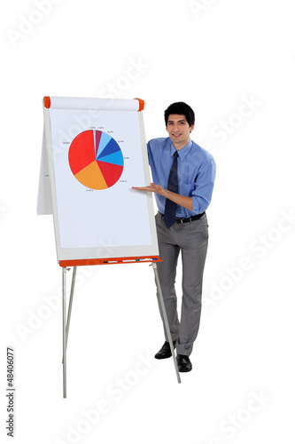 Businessman presenting a pie chart