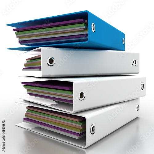 white folders for documents in 3-d visualization