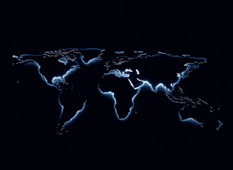 Blue glow world map