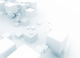 Abstract 3d white cubes