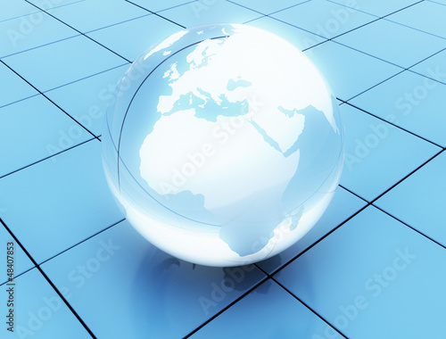 World globe made of glass