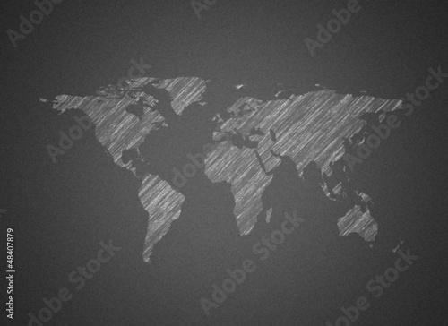 Staande foto Wereldkaart World map on blackboard
