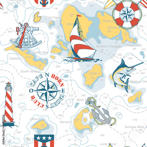 Nautical chart seamless pattern