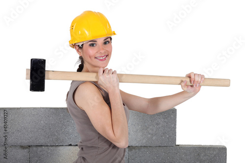 Woman with sledge-hammer