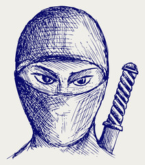 Ninja assassin. Doodle style