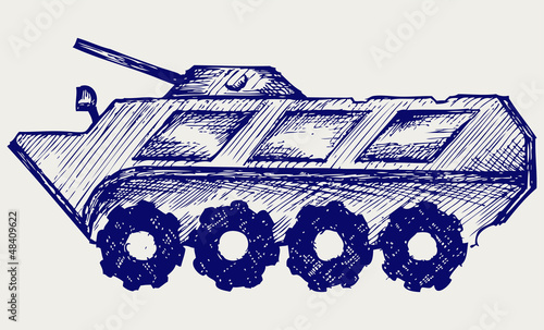 Armored troop-carrier. Doodle style