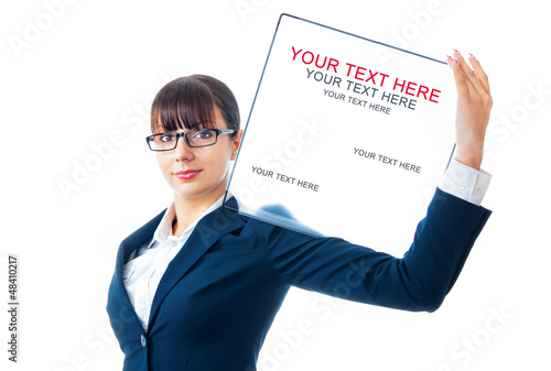 Smile young business woman showing blank signboard, isolated