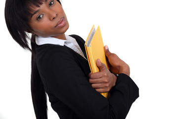 businesswoman holding a notepad