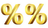 3D gold glossy percent sign, sale symbol
