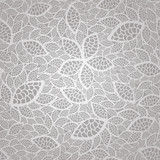 Seamless silver lace leaves wallpaper pattern