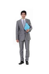 Portrait of a businessman carrying a file
