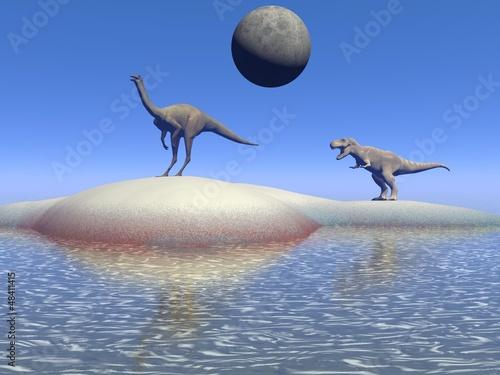 dinosaur and moon