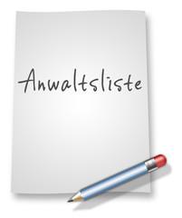 "Papier & Bleistift Illustration ""Anwaltsliste"""