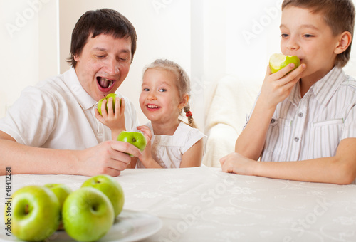 Family with apples