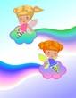 Две маленькие феи на облаках