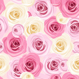 Vector seamless background with pink and white roses.
