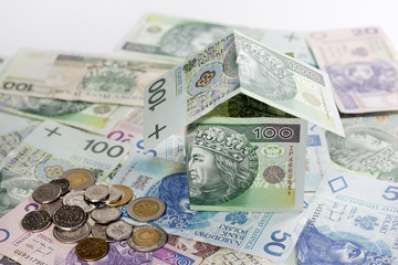 House made ​​of polish money credit and construction concept