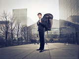 businessman with backpack