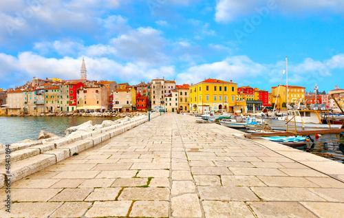 Leinwanddruck Bild old Istrian town in Porec, Croatia.
