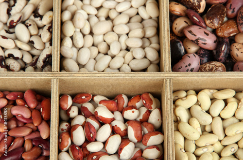 Diverse beans in wooden box sections close-up