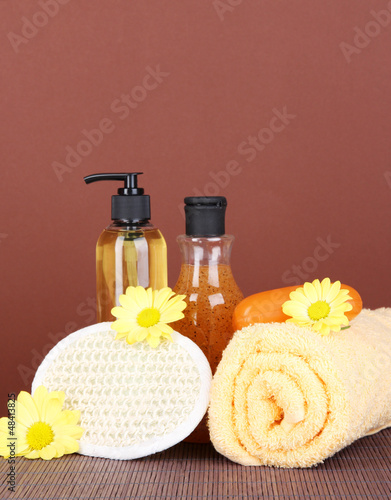 Set for care of a body on brown background