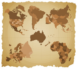 Set of a six silhouettes of a continents - B
